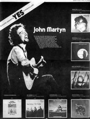 "accompanying full page ad: ""Currently appearing YES in America with John Martyn"".."